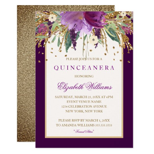 Purple Floral Amethyst Quinceanera Invitation