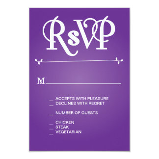 Purple Floral Ampersand RSVP Card