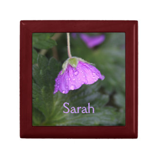 Purple Floral And Name Small Square Gift Box