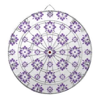 Purple floral art design dartboard with darts
