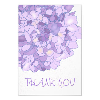 Purple Floral Art Thank You Flat Notes Card
