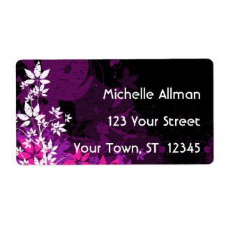 Purple Floral Avery Label Shipping Label