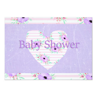 Purple Floral Baby Shower Invitations for Girls