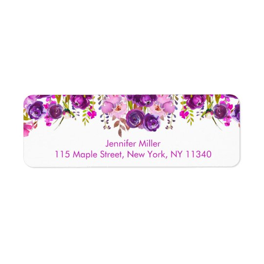 Purple Floral Baby Shower Return Address Label