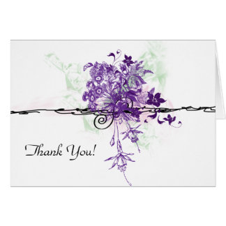 Purple Floral Bouquet Illustration, Thank You Stationery Note Card