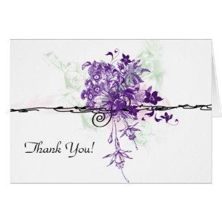 Purple Floral Bouquet Illustration, Thank You Note Card