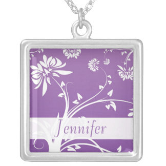 Purple Floral Bridal Party Gift Necklace