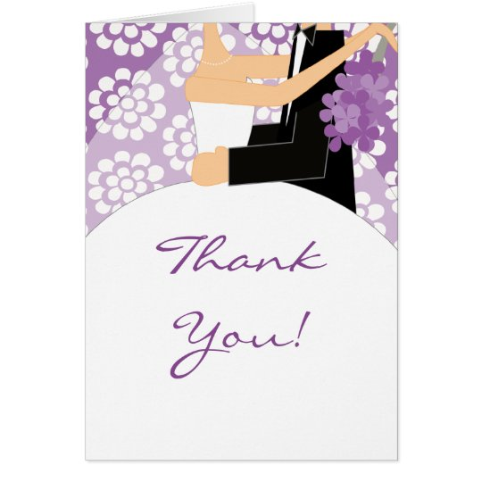 Purple Floral Bride & Groom Thank You Note Card