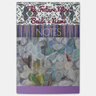 Purple Floral Bride Notes Post-it® Notes
