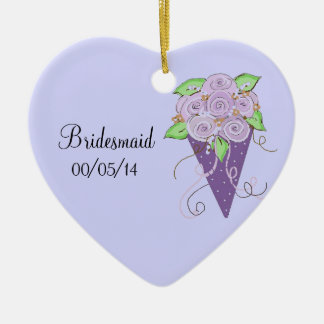 Purple Floral Bridesmaid Bouquet Ceramic Ornament
