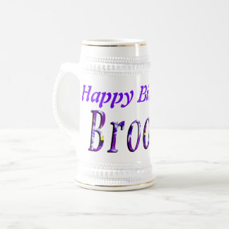 Purple Floral Brooke Name Logo, Beer Stein
