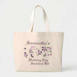 Purple Floral Butterfly Wedding Day Survival Kit Tote Bags