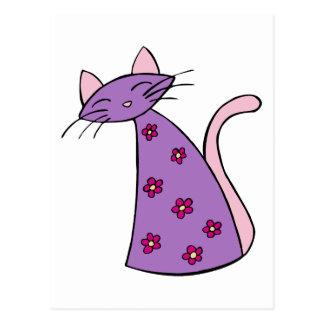 Purple Floral Cat Postcard