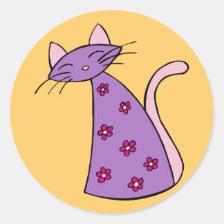 Purple Floral Cat Round Sticker