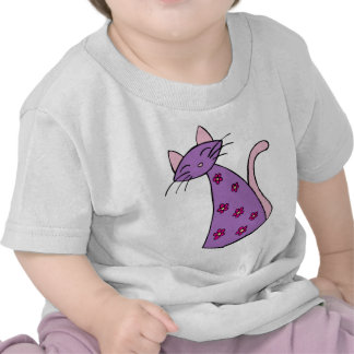 Purple Floral Cat Tshirts