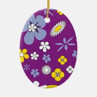 Purple Floral Ceramic Ornament