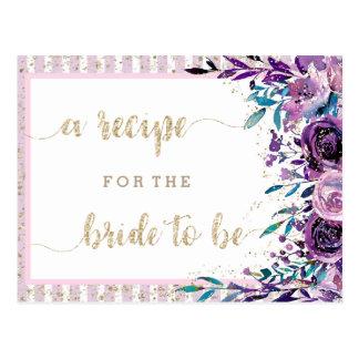 Purple Floral Champagne Bridal Shower Recipe Card