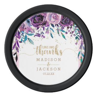 Purple Floral Champagne Gold Stripes Wedding Favor Poker Chips