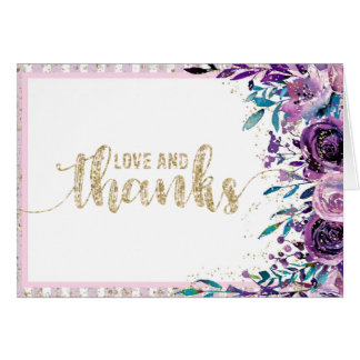 Purple Floral Champagne Gold Wedding Thank You Card