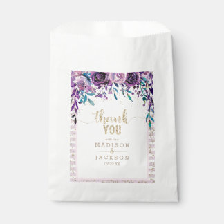 Purple Floral Champagne Gold Wedding Thank You Favour Bag