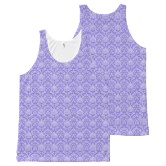 Purple Floral Damask All-Over Print Tank Top