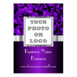 Purple floral damask photo logo pack of chubby business cards