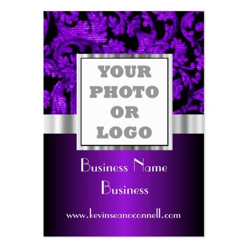 Purple floral damask photo logo business cards