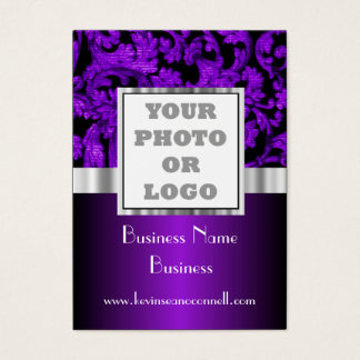 Purple floral damask photo logo business card