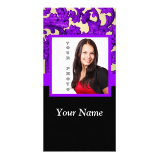 Purple floral damask photo template photo card