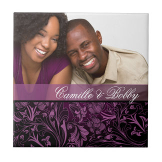 Purple Floral Damask Photo Wedding Favor Small Square Tile