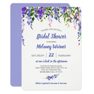 Purple Floral drop bridal shower invite