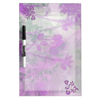 Purple Floral Dry Erase Board