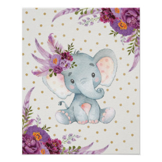 Purple Floral Elephant Nursery Art Boho Decor Sign