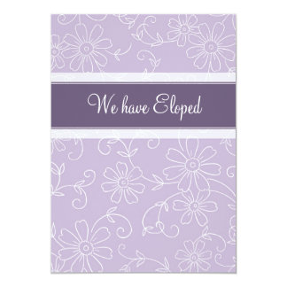 Purple Floral Elopement Announcement Cards