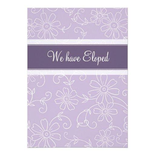 Purple Floral Elopement Announcement Cards