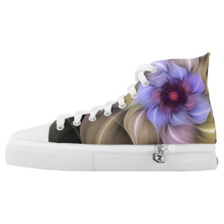 Purple Floral Fractal High Tops