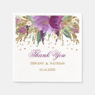 Purple Floral Glitter Amethyst Wedding Napkin Paper Napkin