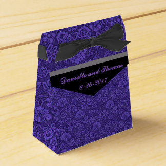 Purple Floral Gray Black Wedding Favor Box Wedding Favour Box