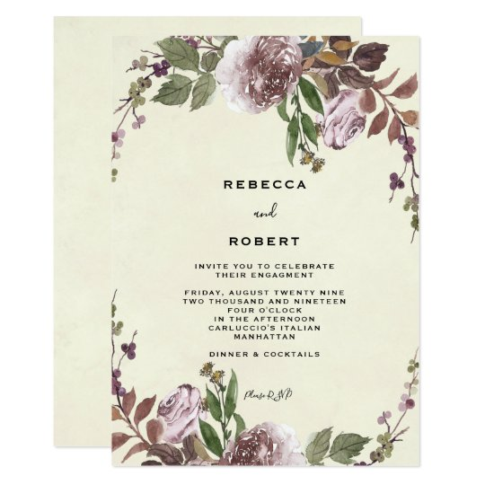 purple floral greenery engagement party invitation