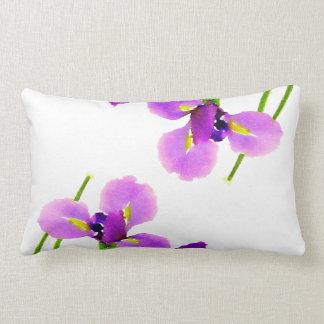 Purple Floral Iris Watercolor Lumbar Pillow