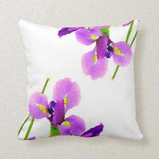 Purple Floral Iris Watercolor on White Throw Pillow