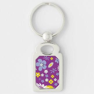 Purple Floral Key Ring