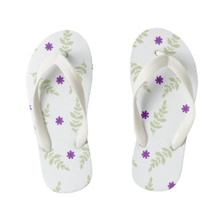 Purple Floral Kids Flip Flops