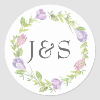 Purple floral leafy wedding personalized stickers