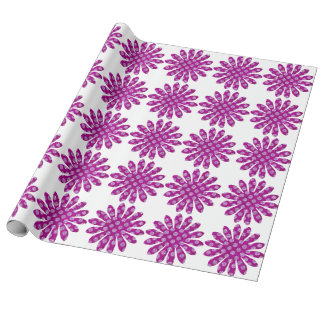 purple floral linen wrapping paper