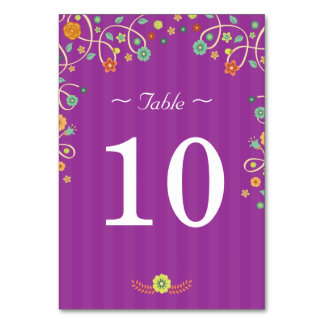 Purple Floral Love Birds - Wedding Table Number Table Cards