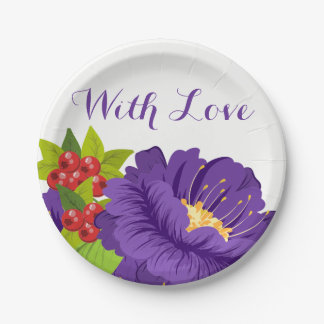 Purple Floral Love  Flowers - Wedding Party Paper Plate