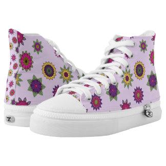 Purple Floral Mandala Hi-Top Shoes