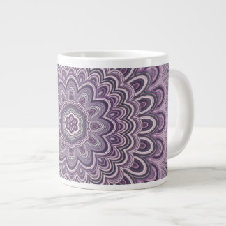Purple floral mandala large coffee mug