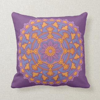 Purple Floral Mandala Throw Pillow